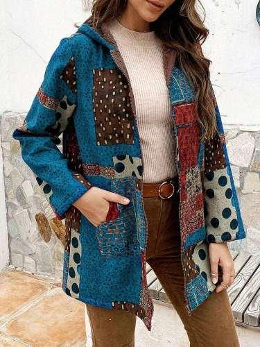 Fashion Plaid print Long sleeve Brushed Hoodie Coats