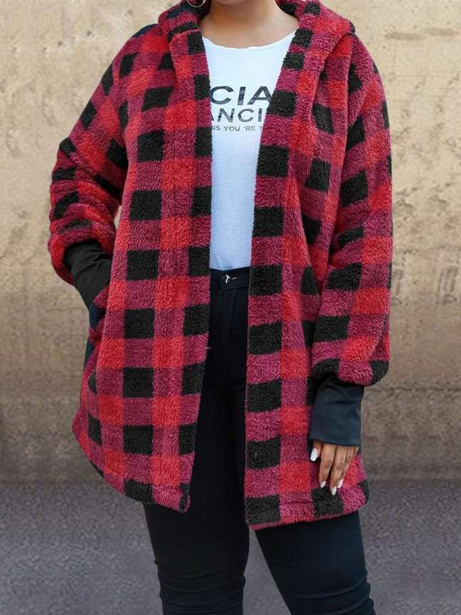 Casual Plush Plaid Hoodie Long sleeve Cardigan