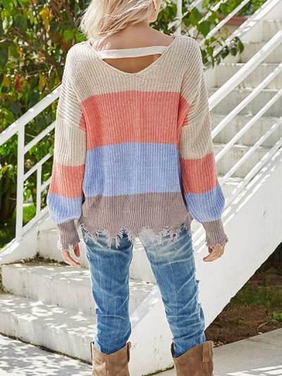 V-neck stripe contrast knit long sleeve open-back design sweaters