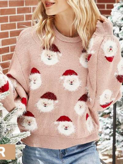 Women Chirstmas Style Fashion Pink Round Neck Long Sleeve Christmas Man Printed Sweaters