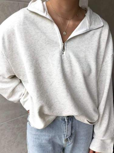 Casual Pure Lapel Long sleeve Zipper Sweatshirts