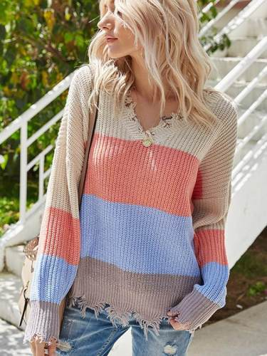 V-neck stripe contrast knit long sleeve open-back design sweaters