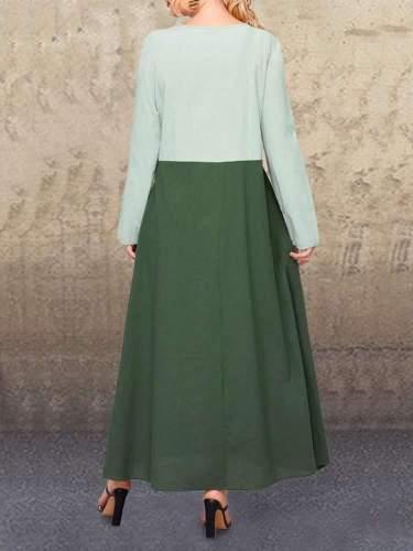 Fashion Casual Loose Gored V neck Long sleeve Maxi Dresses