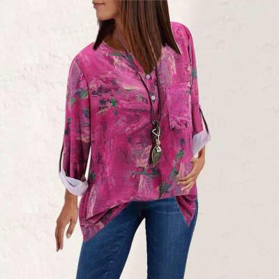 Casual Retro Print V neck Long sleeve Blouses