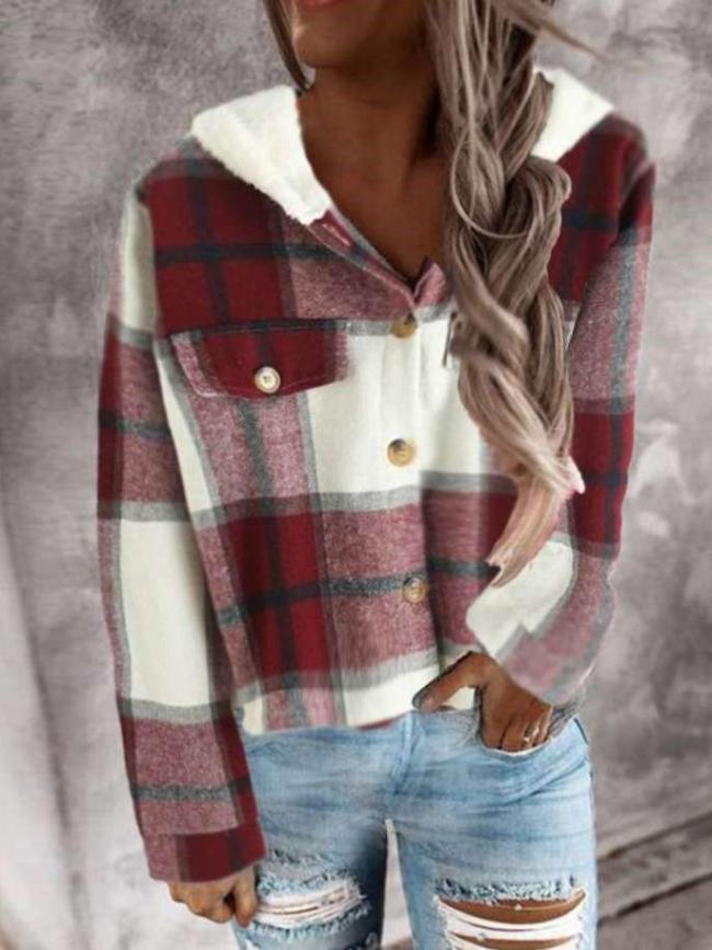 Fashion Plaid print Brushed Hoodie Long sleeve Blouses