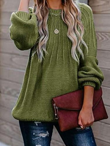Fashion Pure Stripe Round neck Long sleeve Knit Sweaters