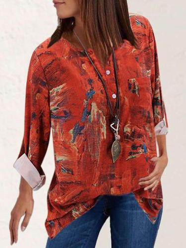 Casual Retro Print V neck Long sleeve Blouses