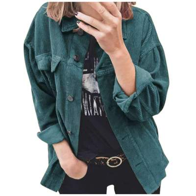 Fashion Casual Pure Corduroy Lapel Long sleeve Blouses