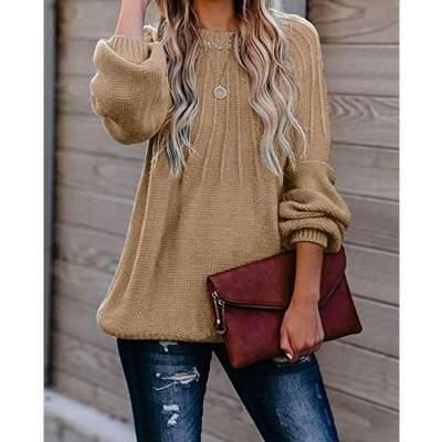 Fashion Pure Stripe Round neck Long sleeve Knit Sweaters