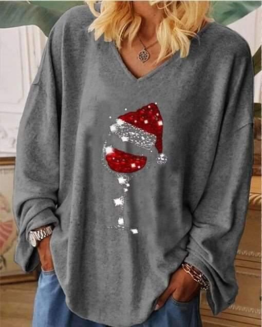 Casual Loose Christmas cup printing V neck Long sleeve T-Shirts