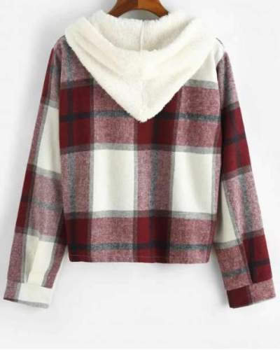 Fashion Plaid print Brushed Hoodie Long sleeve Blouses