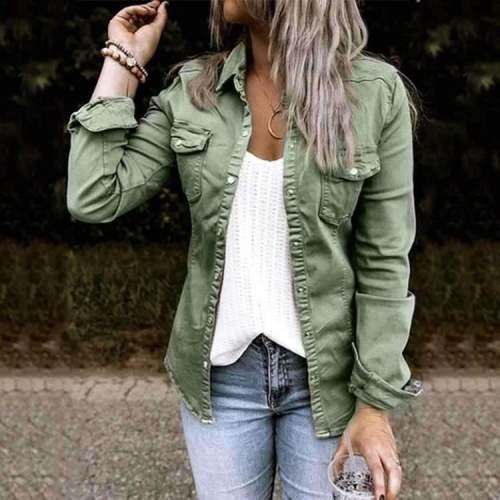 Fashion Pure Lapel Long sleeve Jean Jackets
