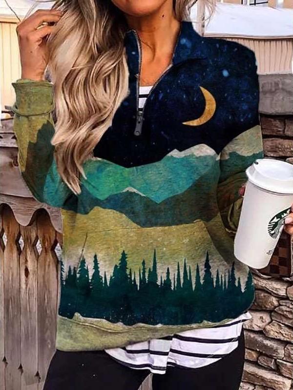 Fashion Landscape print Lapel Long sleeve Zipper Sweatshirts