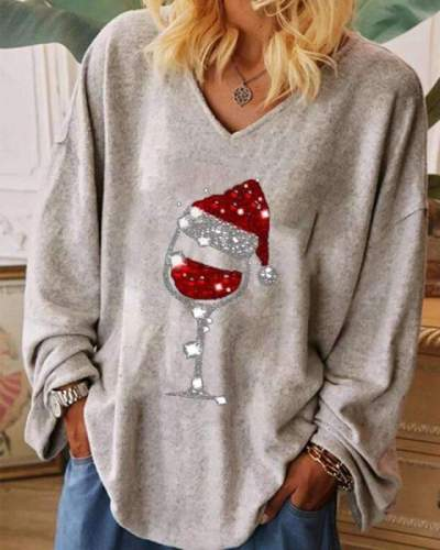 Casual Loose Christmas cup printing V neck Long sleeve T-Shirts