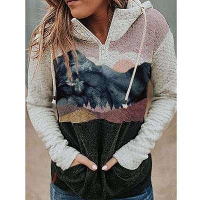 Fashion Landscape print Long sleeve Hoodies  Sweatshirts