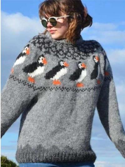 Casual Penguin print Round neck Long sleeve Knit Sweaters