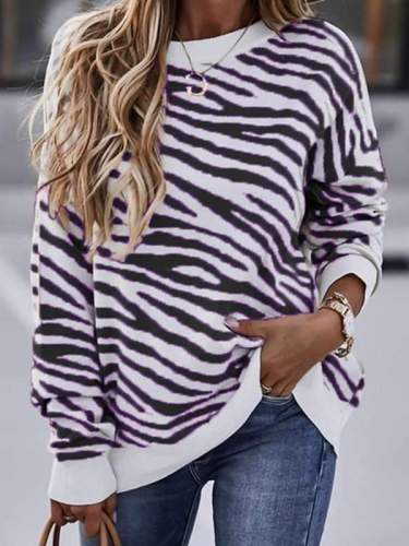 Stylish Round neck zebra-stripe women long sleeve sweaters