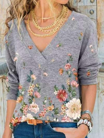 V neck Long Sleeve Flower and butterfly Printed T-shirts