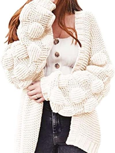 Casual Loose Pure Puff sleeve Knit Cardigan