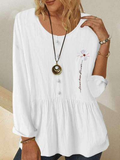 Fashion Casual Embroid Round neck Long sleeve Fastener T-Shirts