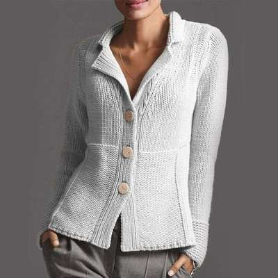 Fashion Pure Lapel Long sleeve Knit Fastener Cardigan