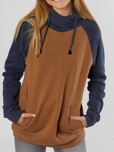 Fashion Gored Long sleeve Pocket Hoodies Sweatshirts