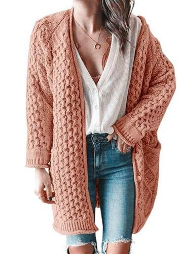 Fashiob Casual Pure Knit Fastner Long sleeve Plus Cardigan