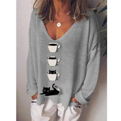 Casual Loose Cup print V neck Long sleeve Knit T-Shirts