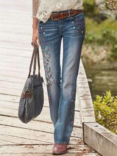 Women embroidery printed long pants denim jeans