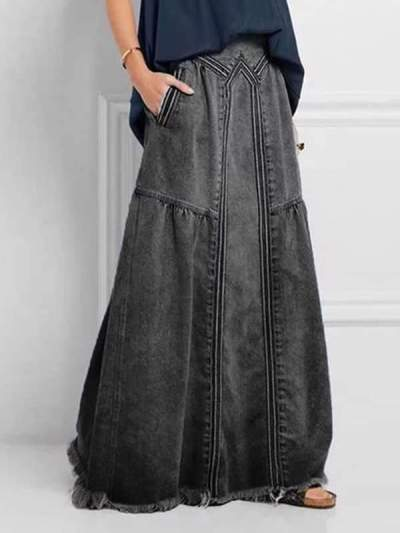 Simple denim fashion long women skirts with pockets