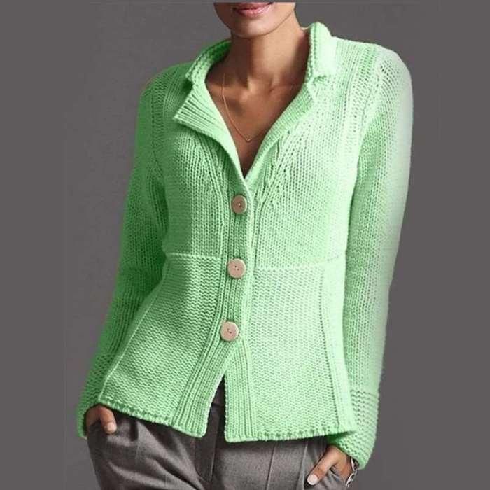 Fashion Pure Lapel Long sleeve Knit Fastener Cardigan
