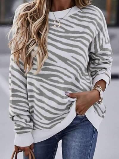 Stylish Round neck zebra-stripe women long sleeve sweaters