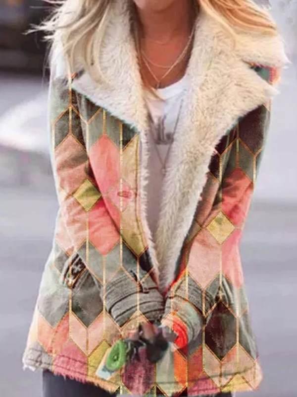 Fashion Printed big lapel single - breasted long sleeve coats