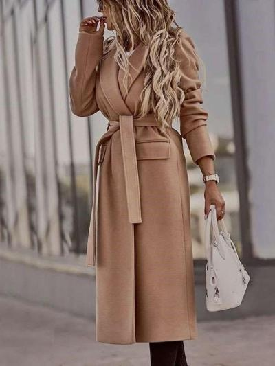 Fashion Pure Lapel Long sleeve Belt Coats