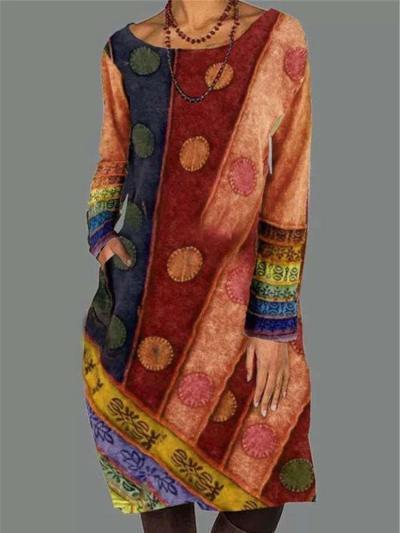 Fashion Retro Round neck Long sleeve Shift Dresses