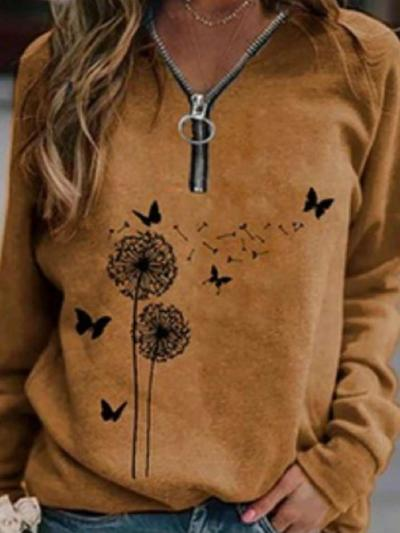 Fashion Casual Retro print Zipper Long sleeve T-Shirts
