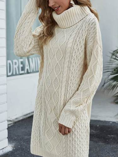 Loose sweater knit high neck  shift dresses Cable- Knit sweater dresses