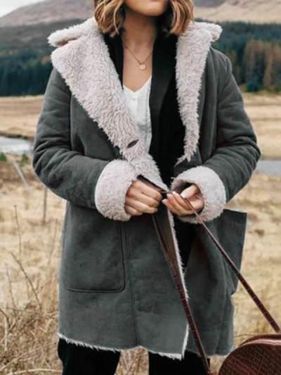 Turn down neck plain casual women warm coats
