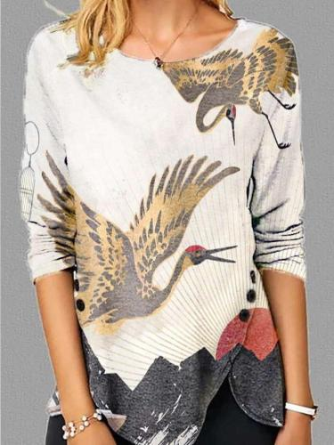 Women Vintage Printed Long Sleeve Casual Top T-shirts