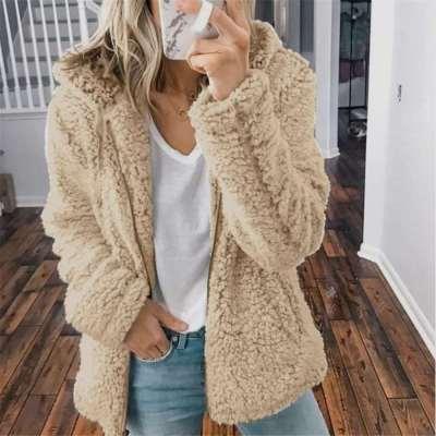 Fashion Casual Pure Hoodie Plush Long sleeve Coats