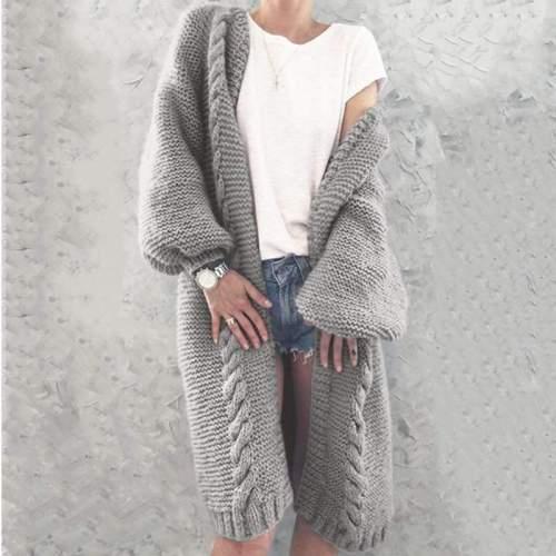 Fashion Casual Pure Knit Long sleeve Cardigan