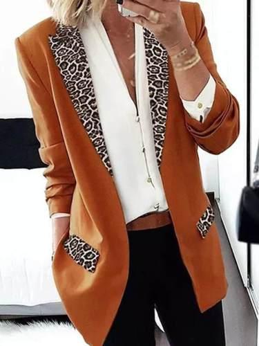 Leopard printed women slim blazers
