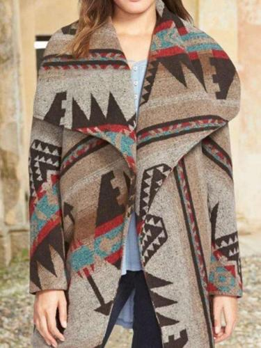 Fashion Retro Print Lapel Long sleeve Woolen Coat