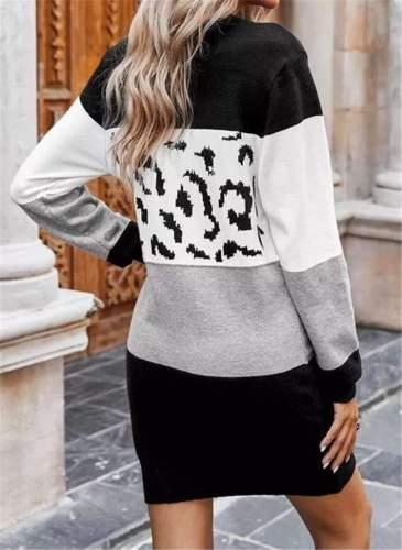 Fashion Sexy Stripe Gored Round neck Long sleeve Knit Shift Dresses