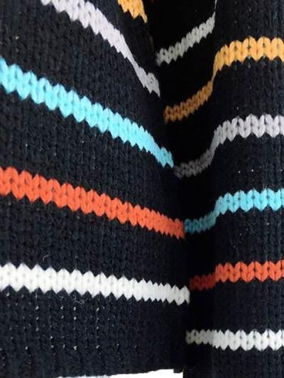 Chic Stylishness Rainbow Stripe Round neck Pattern Sweaters