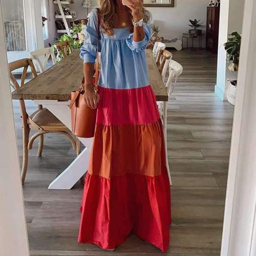 Fashion Casual Gored Square collar Long sleeve Maxi Dresses