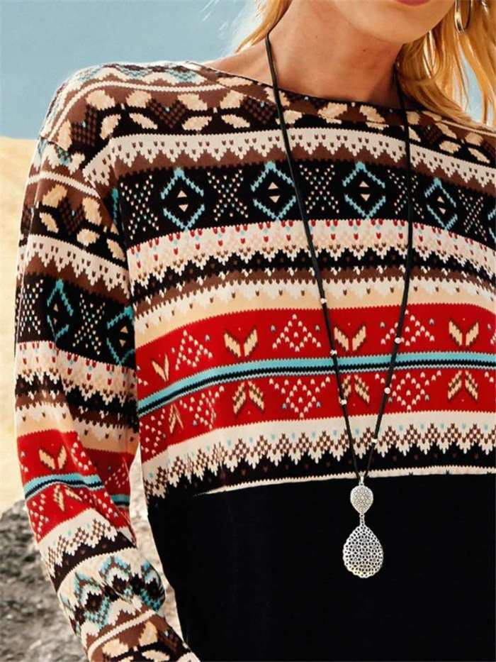Casual Stripe Retro Print Round neck Long sleeve Sweaters