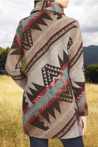 Fashion Retro Print Lapel Long sleeve Woolen Coat
