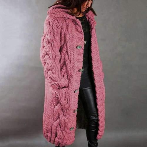 Fashion Casual Pure Knit Lapel Long sleeve Fastener Cardigan