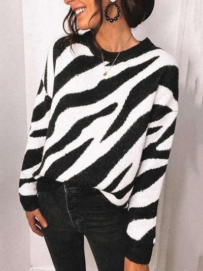 Fashion Stripe print Round neck Long sleeve Knit  Sweaters